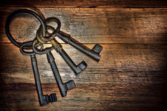 Antique Keys On Old Weathered Wood Board Planks Royalty Free Stock Images