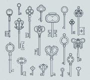 Antique keys set. Hand drawn medieval vector illustrations of old objects isolate on white Stock Photography