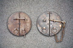 Antique keys on the stone wall background. Antique keys on the stone wall texture and background Royalty Free Stock Photography