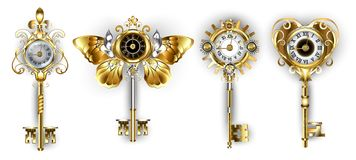 Antique keys on white background with dials. Set of antique, gold and silver keys decorated with dials on white background royalty free illustration