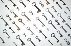 Antique keys on white Royalty Free Stock Photography