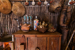 Antique kitchen tools 2. Kitchen tools Antiques on display floating market in Thailand royalty free stock photo