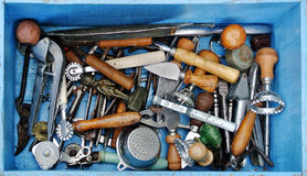 Antique kitchen tools. The antique kitchen tools in a blue box Royalty Free Stock Photos