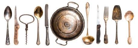 Antique kitchen utensils. Collection of different antique kitchen utensils on white background Stock Photos