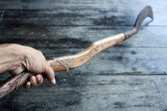 Antique knives and wood carving handmade. Stock Photography