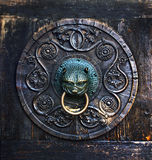Antique knob on a wooden door, Augsburg, Germany Stock Photography