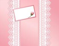 antique koronki różowego karty daru prezent Zdjęcie Stock
