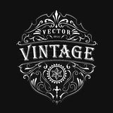 Antique label typography vintage frame design vector Stock Photos