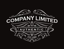 Antique label typography vintage frame logo design vector Royalty Free Stock Photo