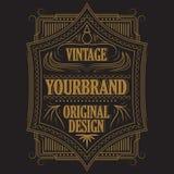 Antique label, vintage frame design, retro logo. Vintage badge, frame blackboard typography label, vector illustration Royalty Free Stock Photography
