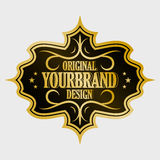 Antique label, vintage frame design, retro logo. Golden retro label with space for your text Royalty Free Stock Photos