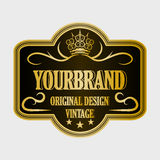 Antique label, vintage frame design, retro logo. Golden retro label with space for your text Stock Photography