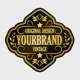 Antique label, vintage frame design, retro logo. Golden retro label with space for your text Stock Photo