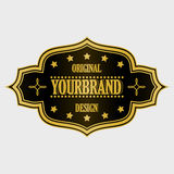 Antique label, vintage frame design, retro logo. Golden retro label with space for your text Royalty Free Stock Photography