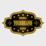 Antique label, vintage frame design, retro logo. Golden retro label with space for your text Stock Photos