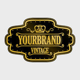 Antique label, vintage frame design, retro logo. Golden retro label with space for your text Royalty Free Stock Photo