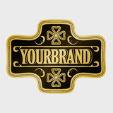 Antique label, vintage frame design, retro logo. Golden retro label with space for your text Royalty Free Stock Images