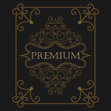 Antique label, vintage frame design, retro logo. Antique label, vintage frame design, luxury ornament floral design logo, decorative template, heraldic Royalty Free Stock Image