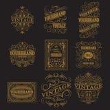 Antique label, vintage frame design, retro logo. Set of antique labels, vintage frame design, typography, retro logo template, vector illustration Stock Image