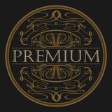 Antique label, vintage frame design, retro logo. Vector antique label on black. Vintage frame with ornament. Retro logo Stock Photography