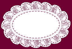 Antique Lace Doily Placemat. Vintage lace doily place mat, leaf edge pattern, for backgrounds, setting table, cake decorating, home decor, scrapbooks, arts Stock Photos