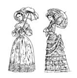 Antique ladies. Dame with umbrella. Victorian epoch. Ancient Retro Clothing. Women in Ball lace dress. Vintage engraving royalty free illustration
