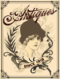 Antique lady. With floral vector elements Royalty Free Stock Images