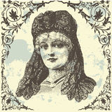 Antique Lady. Antique vintage lady with  frame Royalty Free Stock Images