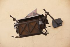 Antique lamp on wall of old street, Vilnius, Lithuania Royalty Free Stock Photo