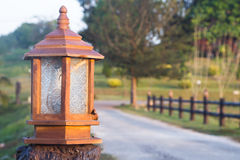 Antique lamppost. Antique Thai style lampost beside the way Royalty Free Stock Images