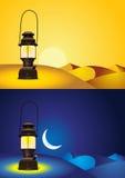 Antique lantern in the desert Stock Photography