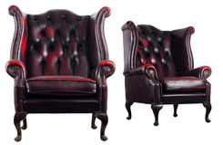 Antique leather armchair Stock Photography