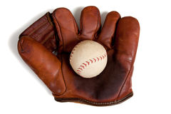 Antique leather baseball glove and ball Stock Photography