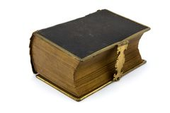 Antique leather book over white Royalty Free Stock Photography