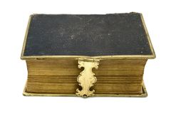 Antique leather book over white Stock Photo