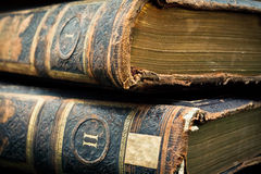 Antique leather bound books stock photography