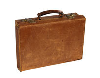 Antique Leather Briefcase. Old, worn leather briefcase or suitcase Royalty Free Stock Photos