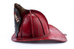 Antique Leather Fire Helmet Stock Photography