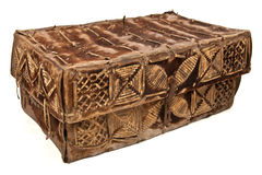 Antique Leather Hide Chest. Turn of the century leather hide chest from South America Royalty Free Stock Image