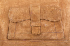 Antique leather suitcase. Detail of suede interior of antique leather suitcase Royalty Free Stock Photo