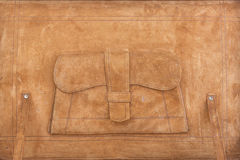 Antique leather suitcase. Detail of suede interior of antique leather suitcase Royalty Free Stock Photos