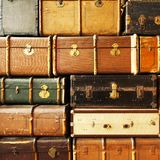 Antique leather suitcases Royalty Free Stock Image