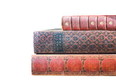 Antique Leatherbound Books Isolated. Stack of old leatherbound books isolated on white Royalty Free Stock Photos