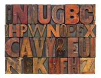 Antique lettepress wood type alphabet. Random alphabet letters - vintage letterpress wood type, different size and style of fonts with ink patina Stock Photo