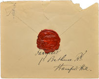 Old Antique letter. With red wax seal Stock Photo