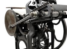 Antique letterpress. Antique black letterpress restored to working condition, isolated on white stock photo