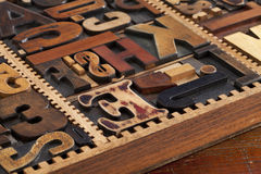 Antique letterpress prinitng blocks Royalty Free Stock Photo