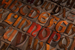 Antique letterpress printing blocks Royalty Free Stock Images