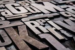 Antique letterpress wood type printing blocks. Antique grungy letterpress wood type printing blocks Royalty Free Stock Photos