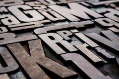 Antique letterpress wood type printing blocks. Antique grungy letterpress wood type printing blocks Royalty Free Stock Photos